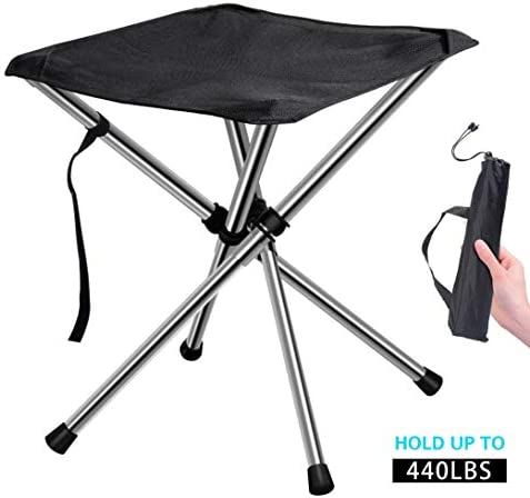 Chiitek Foldable Camping Stool Travel Chair Super Compact Ultralight Weight Tiny Size to Carry Out to Hiking, Beach, Camping, Fishing Unfolded Size 12.6X12.6X13.8inches.
