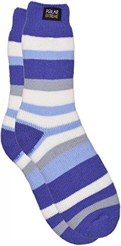 Moisture Wicking Insulated Thermal Socks in 13 Great Styles (Purple-Blue Striped) (Junior Trail Socks)