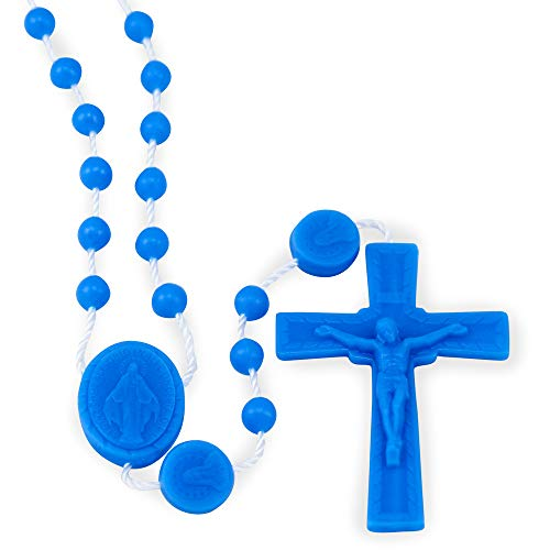 Miraculous Medal Blue Plastic