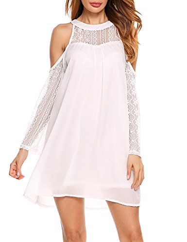 ACEVOG Women's Cold Shoulder Lace Chiffon Mini Patchwork Loose Casual Dress,White,Medium