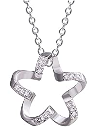 S925 Silver Plated Vintage Cubic Zirconia Hollow Five-pointed star Charm Pendant Necklace,18''