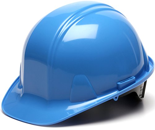 Light Blue Hard Hat (Pyramex Standard Shell Ratchet Suspension Hard Hat, 4 Point Ratchet Suspension, Light)