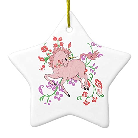 christmas tree decorations pretty prancing pink unicorn in flowers ceramic ornament star christmas ornament crafts xmas - Unicorn Christmas Decorations