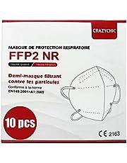 CRAZYCHIC - FFP2 Masker - CE Gecertificeerd EN149 Adembeschermingsmasker - Mondkapje Stofmasker - Hoge Filtratie 5 Lagen Ademmasker - Gezichtsmasker Individueel Verpakt - 10 Stucks