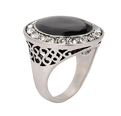 PSRINGS Rings Big Black Enamel Precious Stones Antique Silver Plated Ring Retro Texture Engraving Model Lover ring 9.0