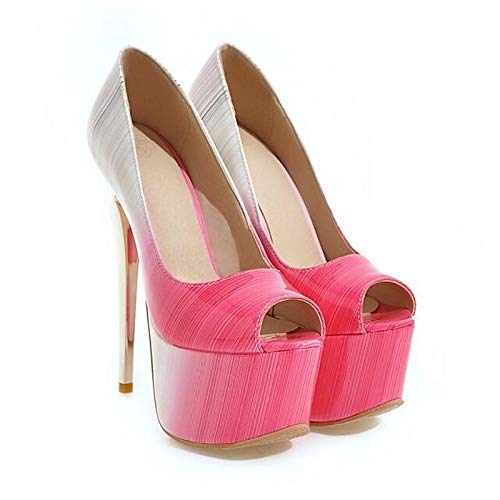 ZHZNVX Zapatos de Mujer Synthetics Spring Basic Pump Tacones Stiletto Heel Red/Green / Pink Black