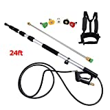 Seesii 4000 psi Commercial Grade Telescoping Pressure Washer Wand 24ft Extension Spray Building Cleaning Power with 5X Spray nozzles and Belt