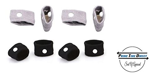 Anti-Nausea Wristbands by Prime Time Direct for Motion Sickness, Acupressure, Travel Bands - Black & Gray (2 Each, Pack of 4) (Best Otc For Seasickness)