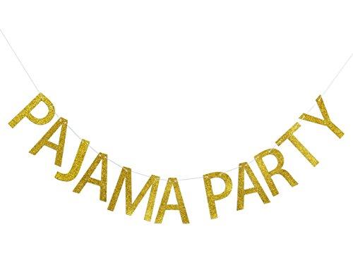 Pajama Party Gold Glitter Banner, Pajama Theme Sign -