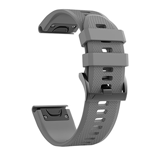 ANCOOL Compatible Garmin Fenix 5X Band Easy Fit 26mm Width Soft Silicone Watch Strap Replacement for Garmin Fenix 5X/Fenix 3/Fenix 3 HR - Grey
