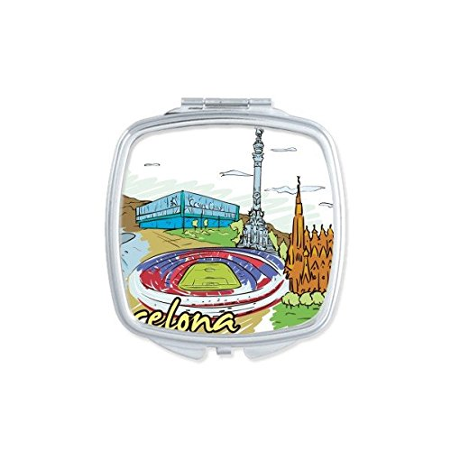 Spain Barcelona Monument A Colon Sagrada Familia Watercolor Square Compact Makeup Pocket Mirror Portable Cute Small Hand Mirrors by DIYthinker