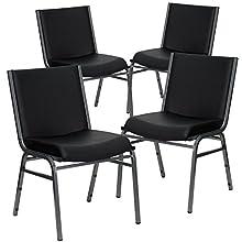 Flash Furniture 4 Pk. HERCULES Series Heavy Duty Black Vinyl Fabric Stack Chair