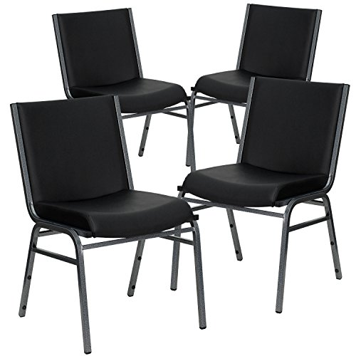 (Flash Furniture 4 Pk. HERCULES Series Heavy Duty Black Vinyl Fabric Stack Chair)