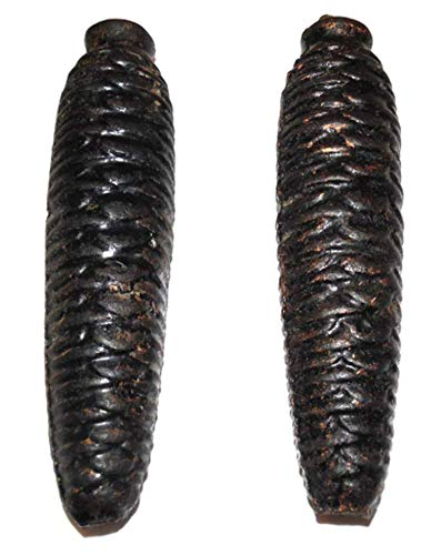 (Pair of Vintage Black Forest Cuckoo Clock Weights Cast Iron Pinecone Shaped 5