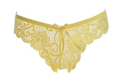 RangYR Ropa interior para mujer, encaje bajo, cintura transparente, ropa interior, 4
