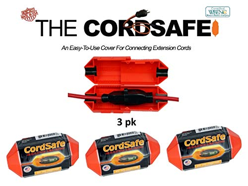 3 Pk Red CordSafe Extension Cord Safety Cover with Water Resistant Seal -