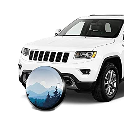 smartgood Realistic Mountain Landscape Forest Nature Abstract Spare Wheel Tire Cover Waterproof Dust-Proof Universal for Jeep,Trailer, RV, SUV and Many Vehicle 14