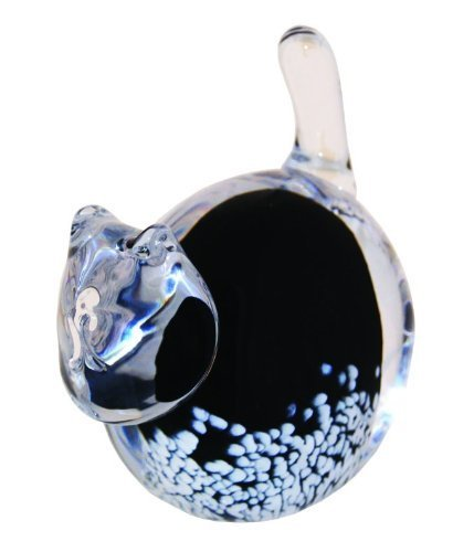 Caithness Glass Cat Paperweight, Black/ Clear/ White by Caithness Glass