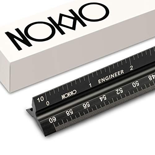 NOKKO Triangular Engineering Scale 12 Inch Aluminum Ruler | Laser Etched Engineer Grade All Metal Measuring Tool | Fade Proof & Accurate Imperial Scale Markings | for Drafting Blueprints | 6 Scales - Time Kit Conversion