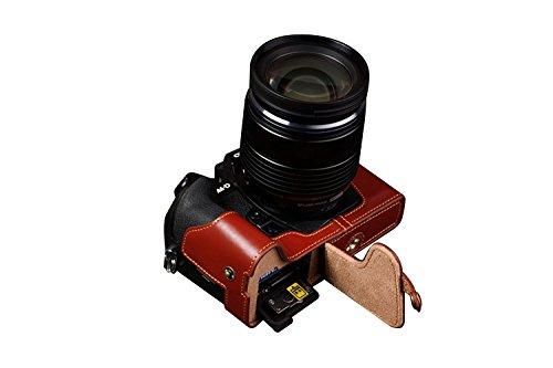 TP OLYMPUS オリンパス OM-D E-M1用本革カメラケース(電池,SDカード交換可) ブラウン B01K4PGMPW カメラケース&ストラップTP09&バッテリーケース