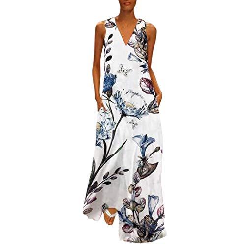 Women's Vintage Bohemian Floral Sleeveless V-Neck Dress Feather Print Maxi Long Dress