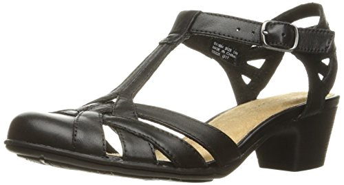 Rockport Women's Nasira T-Bar Heeled Sandal, Black Leather, 8 M US by Rockport