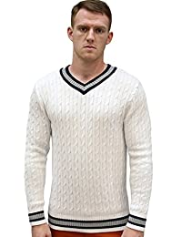 Allegra K Men V Neck Cable Pattern Ribbed Long Sleeves Pullover Knitted Sweater