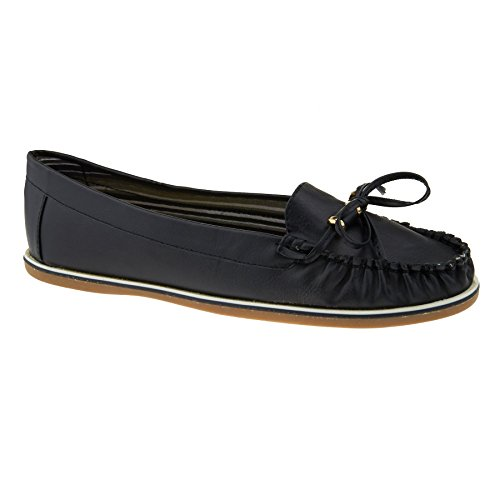 New Womens Casual Loafers Ladies Slip On Comfort Work Pumps Flat Shoes Size 3-8 Black yupLZ7Wh
