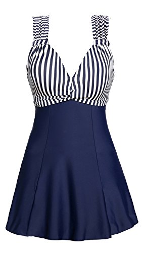 MiYang Women's One Piece High Waist Printing Swim Dress Swimwear,Dark Blue Stripe,Large(US size:12-14)