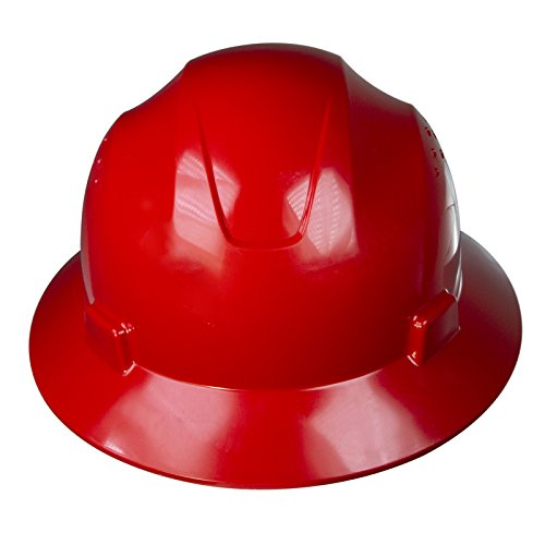 PPE By JORESTECH - HDPE Full Brim Style Hard Hat Helmet w/Adjustable Ratchet Suspension For Work, Home, and General Headwear Protection ANSI Z89.1-14 Compliant (Red) by JORESTECH