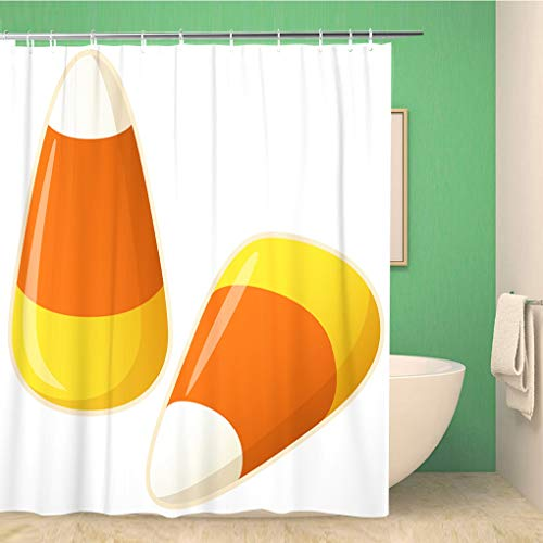 (Awowee Bathroom Shower Curtain Orange Autumn of Two Pieces Candy Corn Yellow Fall Polyester Fabric 60x72 inches Waterproof Bath Curtain Set with Hooks)
