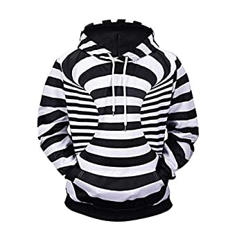 3D Striped Print Hooded Sweater 2018 Autumn and Winter New Fat boy Street,for Flashing 07003#,M