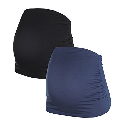 Belly Band for Pregnancy | Maternity Belly Band | Set of 2 | Women´s Maternity Wear | German Brand | 6000 (L, Black|Blue)