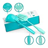 BakBak Design 2-Piece Kitchen Utensils Set Soup Ladle and Slotted Turner (Cats Face) Unique Home Cookware with Wide-Grip Handles – Heat Resistant, Non-Stick Nylon, Dishwasher Safe – Aqua Blue