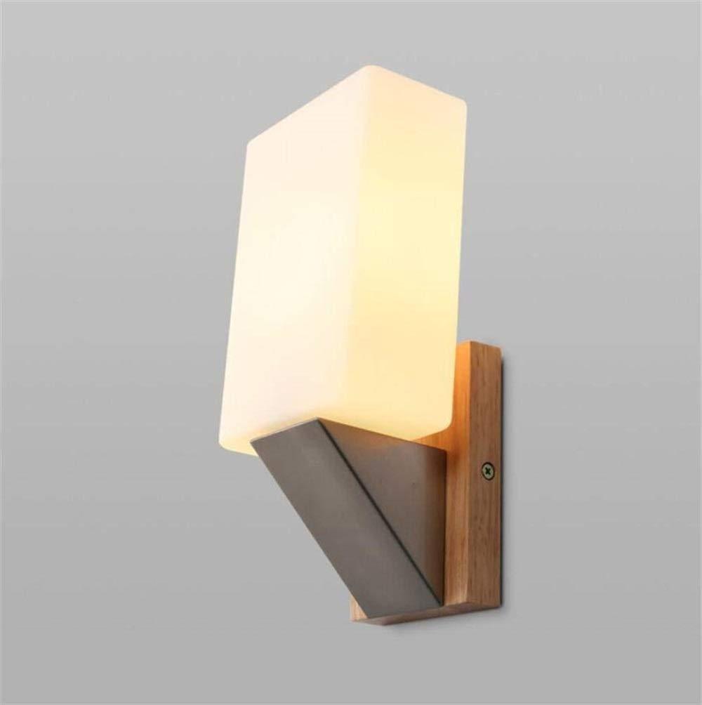 Eeayyygch Wandleuchte Schlafzimmer Nachttischlampe Charakter Einfache Korridor Europäischen Massivholz Platz Holz Hotel Hotel Projekt Wandleuchte [Energie A ++] (Farbe   -, Größe   -)
