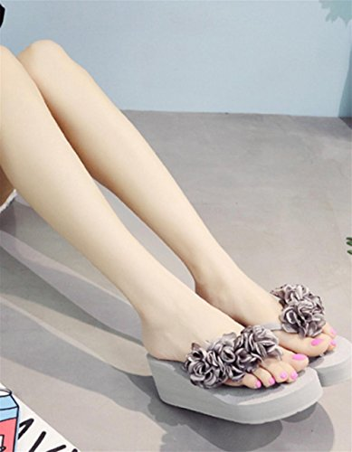 pengweiSandalias de las se?oras Flor de la manera Zapatos de la playa los pies antideslizantes del clip los flip-flop del alto tal¨®n 4