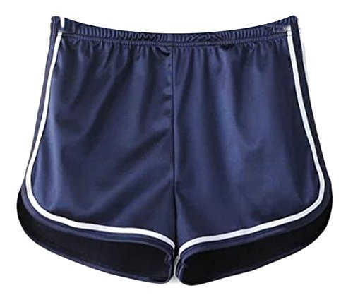 Cromoncent Womens Sports Satin Elastic Waist Butt Lift Stripe Hot Shorts Navy L