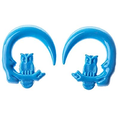 0G Light Blue Tapers 2G 6G BodyJ4You Owl Spiral Taper 4G Owl Hanger Acrylic Tapers Light Blue 8G