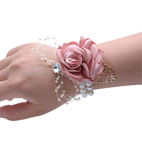 Wedding Bridal Wrist Corsage Graduation Party Wrist Corsage Bridesmaid Wrist Flower Corsage Flowers for Wedding (Champagne Pink) ()