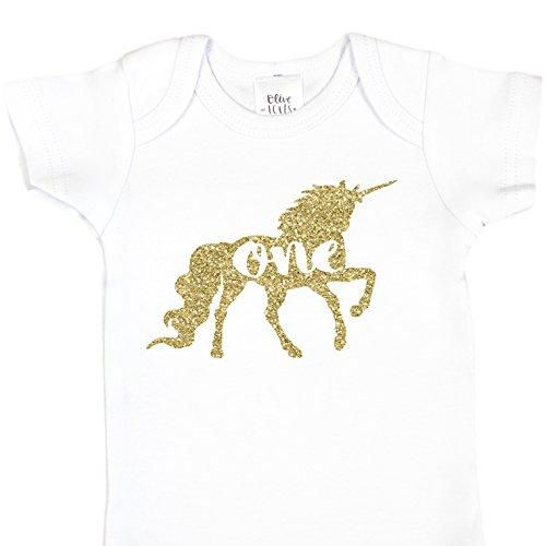 ld Unicorn Girls 1st Birthday White Onesie, Gold, 6-12 months short sleeve ()
