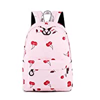 Acmebon Waterproof Stylish School Backpack for Teen Girl Roomy Backpack Purse for Women Cherry