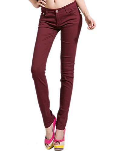 Stretch Pantalon DELEY Jeans Fit Juniors Sombre Femmes Leg Skinny Solides Rouge Jegging Basic EqqOHwTY