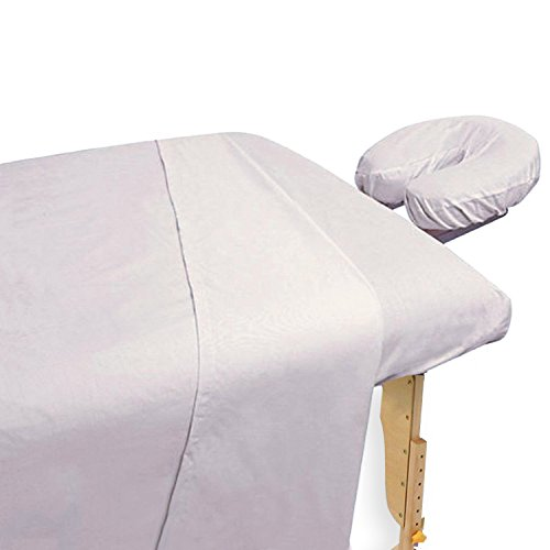 3 Piece Massage Table Sheet Set - Cotton / Polyester Blend - White, Includes Fitted Sheet, Flat Sheet, and Head Rest Cover - by Utopia Bedding