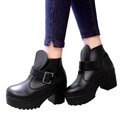 Gothic Punk Shoes - Getmorebeauty Womens Vintage Black Punk Gothic Shoes Buckle Strap Chunky Heels Platform Ankle Boots 7 B(M) US