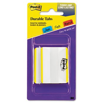 "Post-it 686F50YW Durable Filing Tabs, Flat, 2"", 50/PK, Yellow Color Bar"