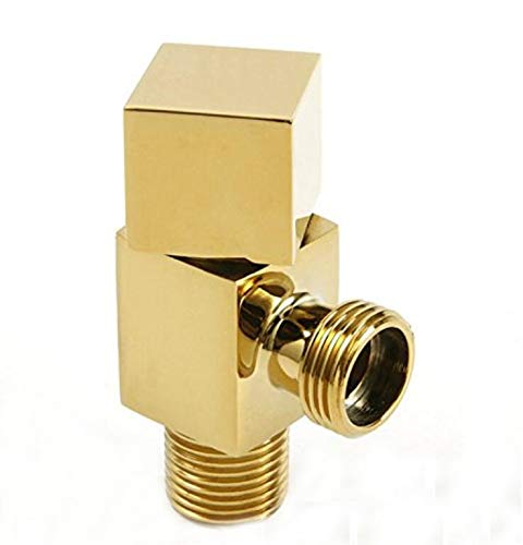 Luxury Angle Stop Valve Quarter Turn Shut Off Water Sink Bathroom Toilet Kitchen Shower Plumbing Commercial 1/2 inch Male IPS G1/2 Four Angle Handle Knob Solid Brass Polished Gold ()