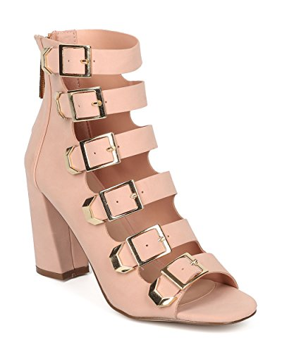 Alrisco Women Buckled Block Heel Pump - Strappy Chunky Heel - Caged Peep High Top Pump - HB85 by Breckelles Collection Blush Leatherette soSdOz0Z