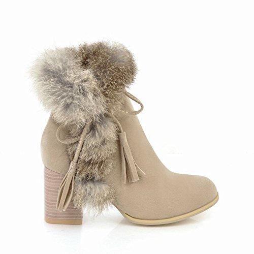Charm Foot Womens Fashion Zipper Chunky Tacco Alto Nappe Invernali Stivaletti Beige