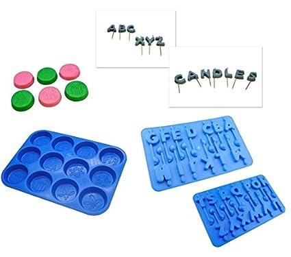 Proops - Juego de bandejas de molde para velas (3 moldes, A-Z alfabeto letras
