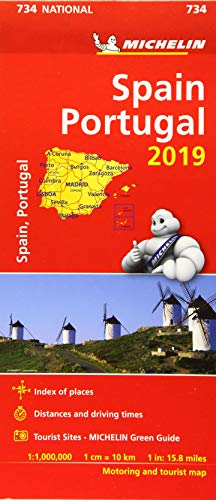 Spain & Portugal 2019 - Michelin National Map 734: Map (Michelin National Maps) (Maps Of Spain)